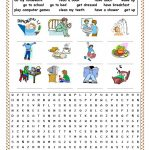 Daily Routines Picture Dictionary And Wordsearch Worksheet   Free | Daily Routines Printable Worksheets