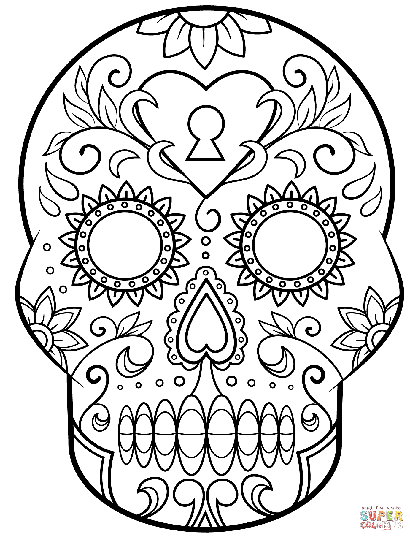 Day Of The Dead Sugar Skull Coloring Page | Free Printable | Free Printable Day Of The Dead Worksheets