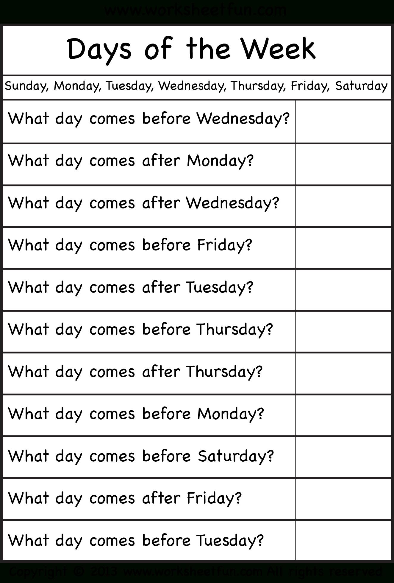 Days Of The Week – Worksheet / Free Printable Worksheets – Worksheetfun   Days Of The Week Printable Worksheets