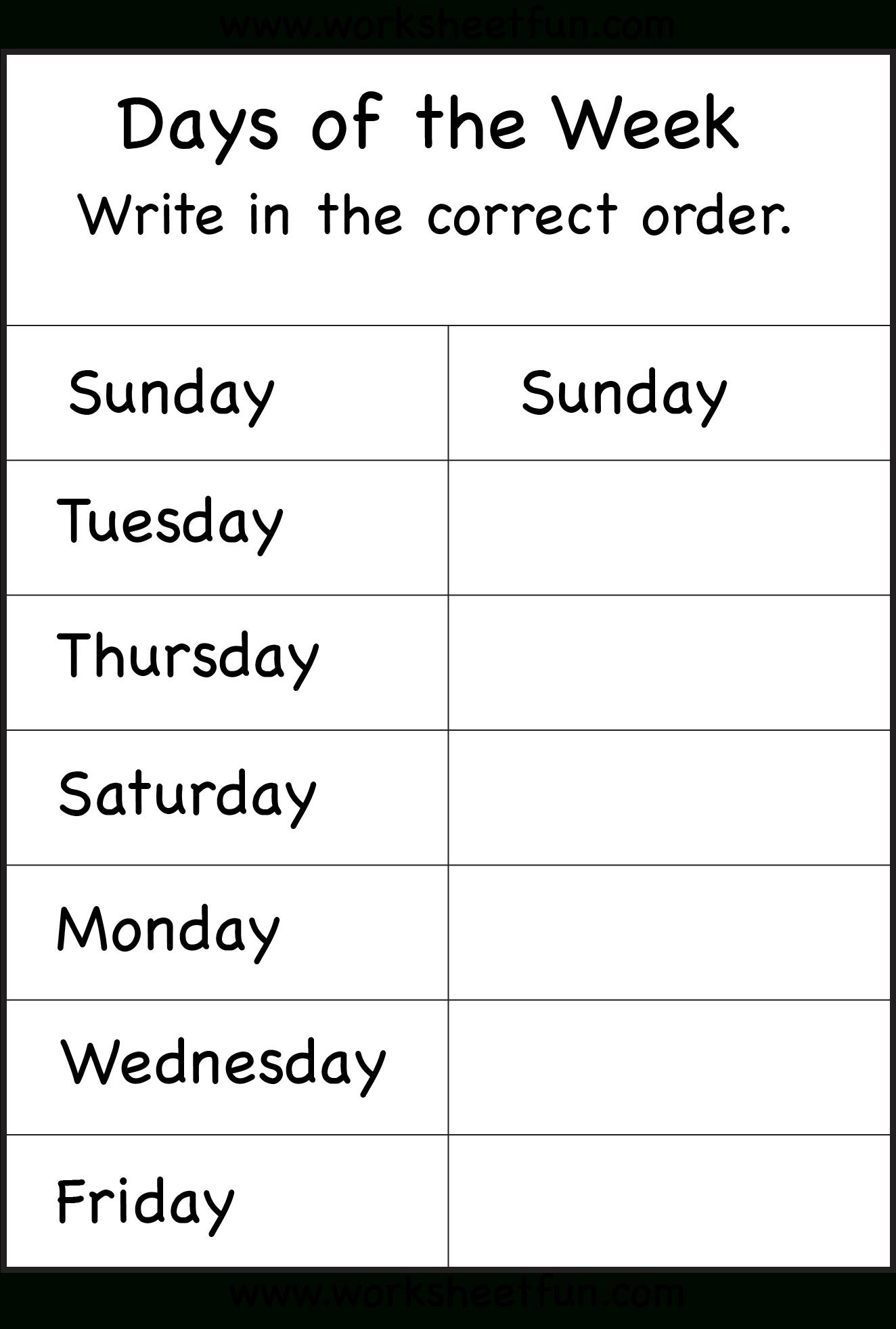 Days Of The Week Worksheet   Printable Worksheets   School   Days Of The Week Printable Worksheets