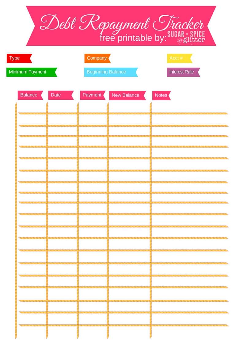 Debt Repayment Printables ⋆ Sugar, Spice And Glitter | Debt Worksheet Printable