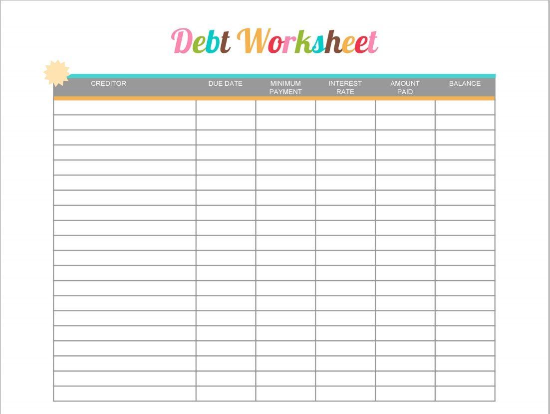 Debt Worksheet Printable - Free Printable #printable Shared | Debt Worksheet Printable