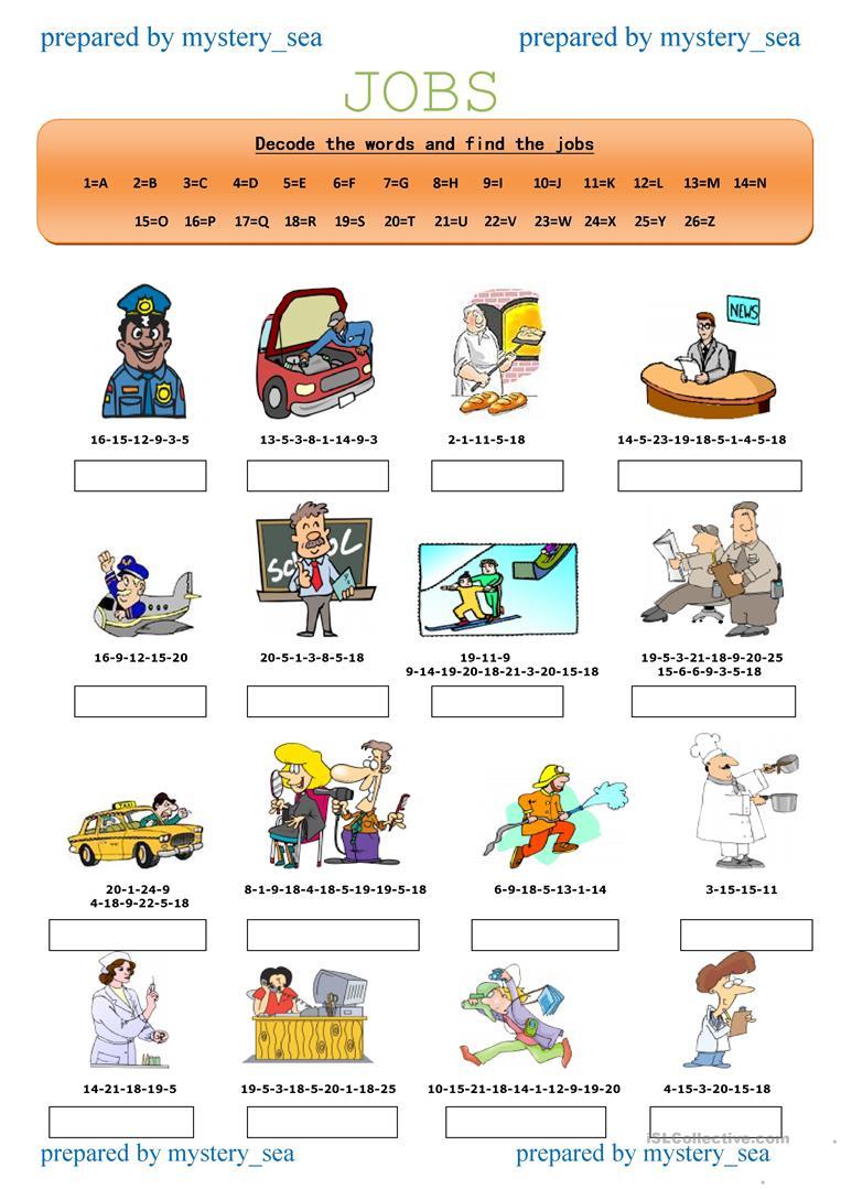 Decode The Jobs-1 Worksheet - Free Esl Printable Worksheets Made | Printable Decoding Worksheets