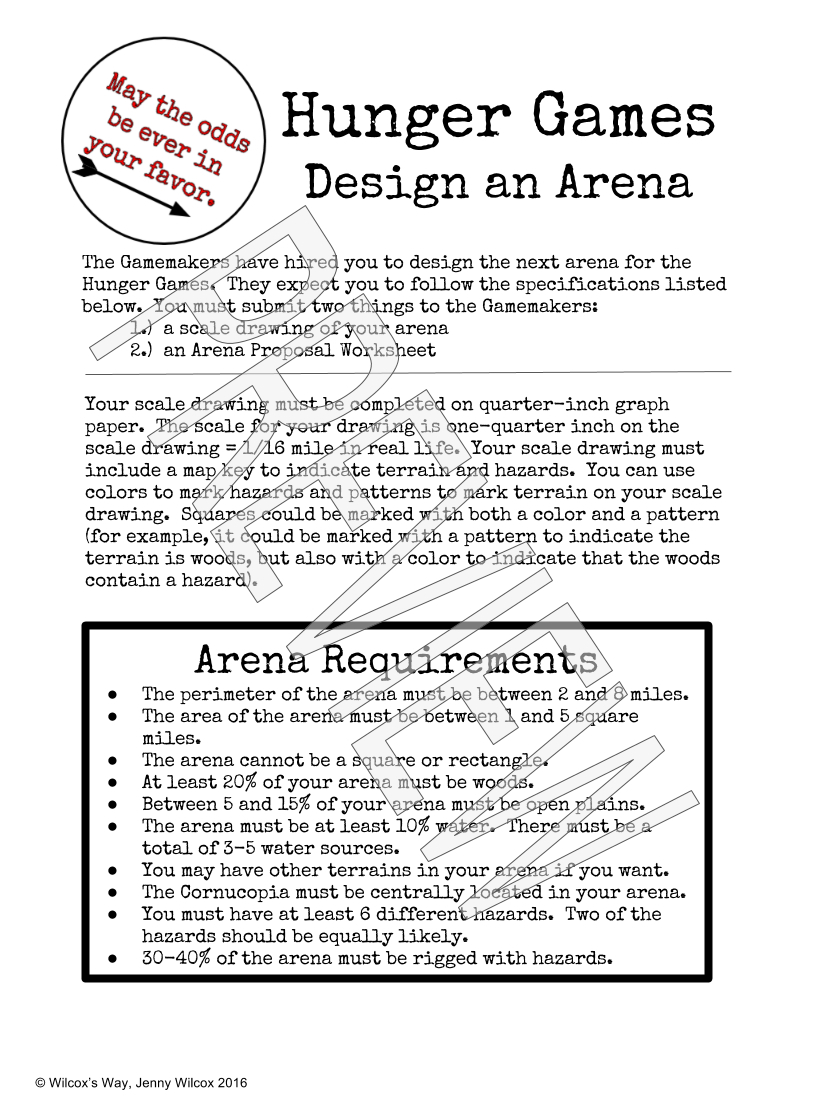 Design An Arena Math Scale Drawing Project | - Math Explorations | Hunger Games Free Printable Worksheets
