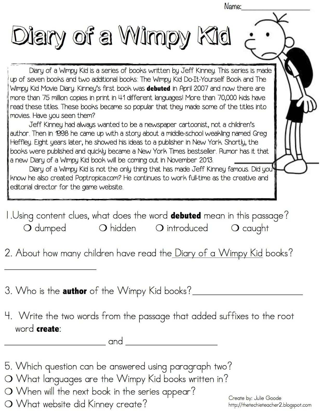 Diary Of A Wimpy Kid Reading Passage Freebie | Diary Of Wimpy Kid | Diary Of A Wimpy Kid Printable Worksheets