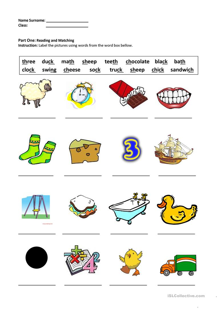 Digraphs Sh,ch,th,ck,ng Worksheet - Free Esl Printable Worksheets | Free Printable Ch Digraph Worksheets