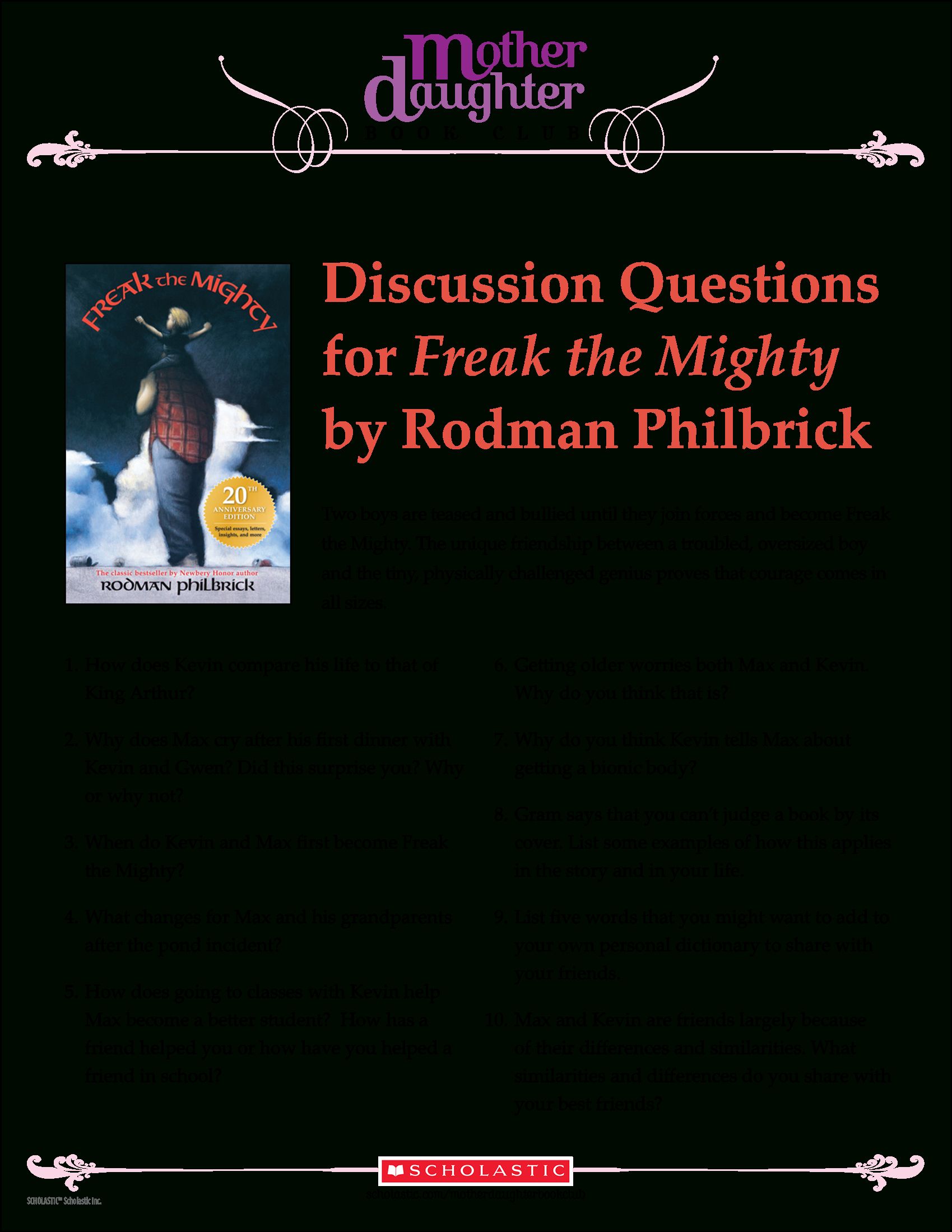Discussion Questions For Freak The Mightyrodman Philbrick | Freak The Mighty Printable Worksheets