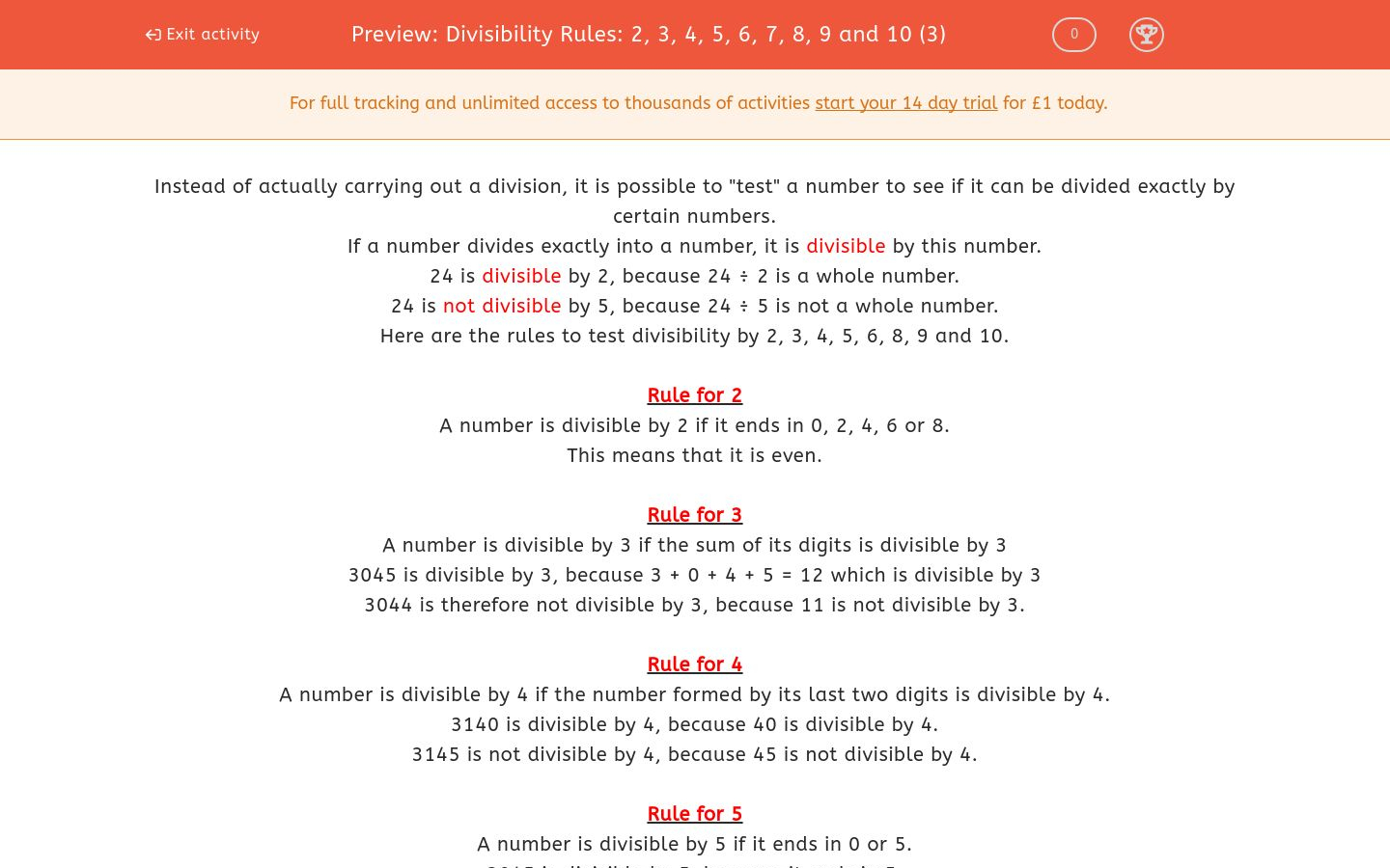 Divisibility Rules: 2, 3, 4, 5, 6, 7, 8, 9 And 10 (3) Worksheet | Divisibility Worksheets Printable