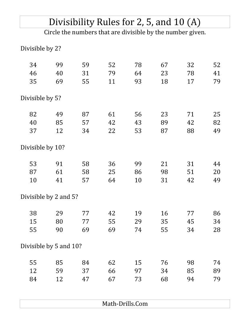 Divisibility Rules For 2, 5 And 10 (2 Digit Numbers) (A) Math | Divisibility Worksheets Printable