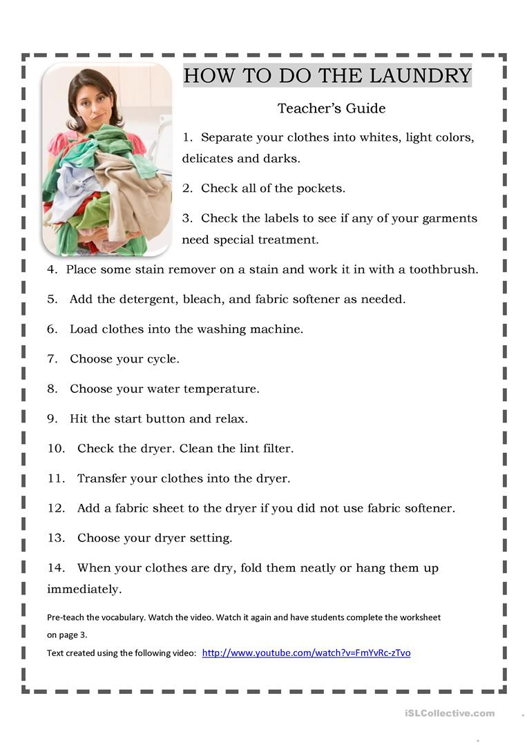 Doing The Laundry-With Video Worksheet - Free Esl Printable | Laundry Worksheets Printable