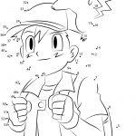 Download Or Print Cute Ash And Pikachu Dot To Dot Printable | Pokemon Worksheets Printable