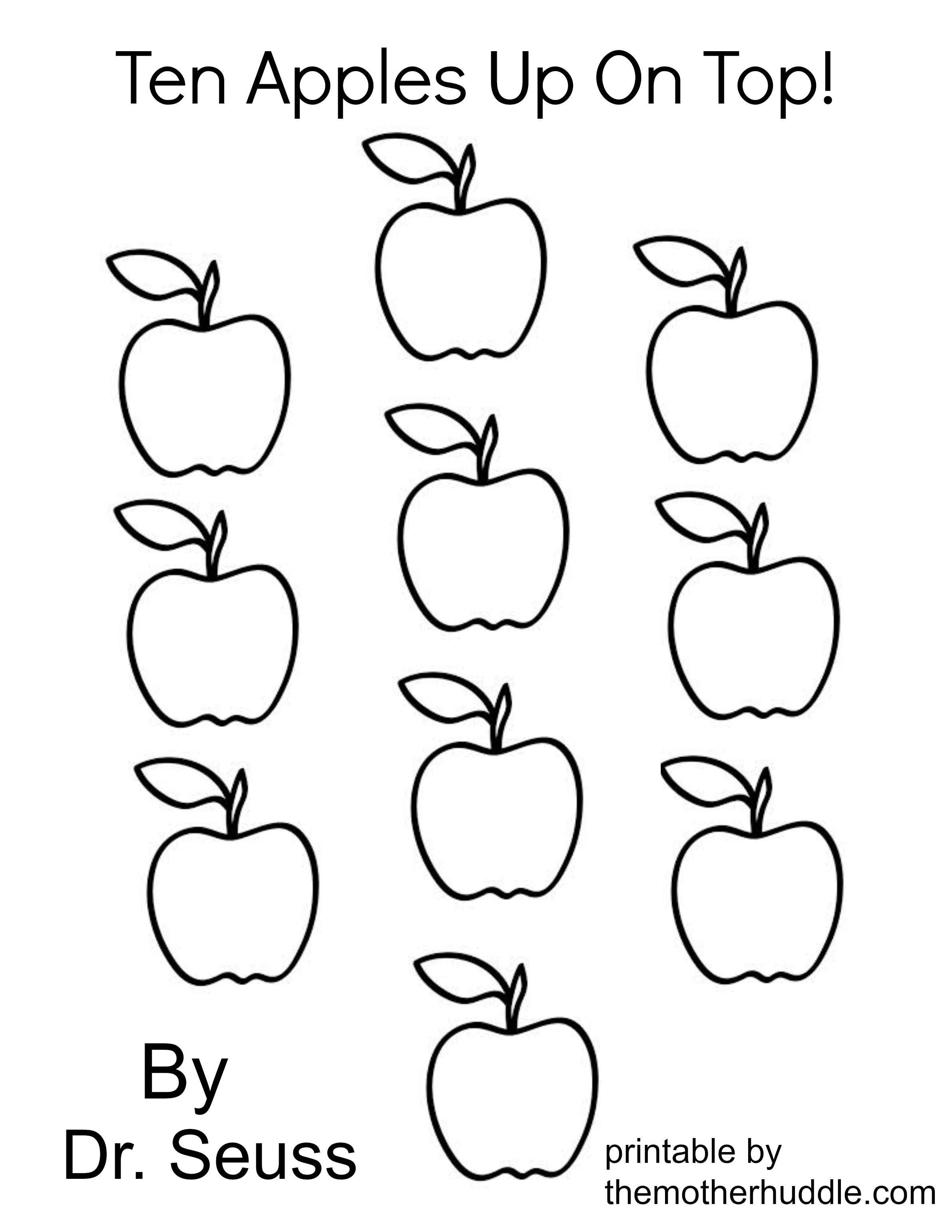 Dr. Seuss March Series – Ten Apples Up On Top (Free Printable) | Dr | A For Apple Worksheet Printable