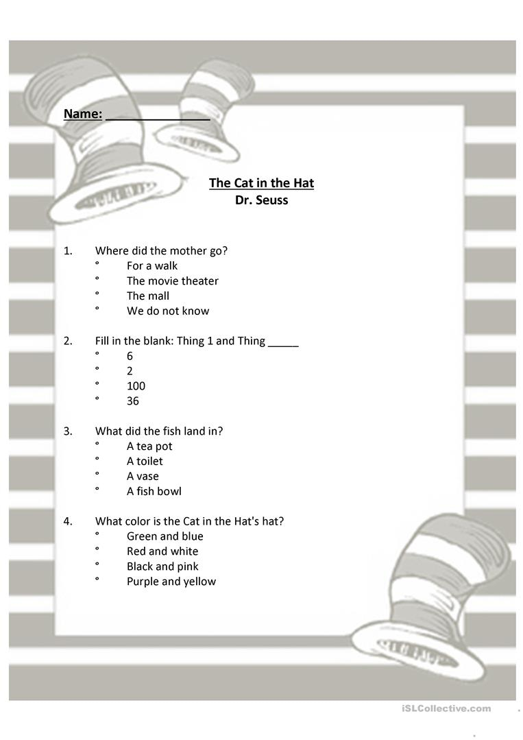 Dr Seuss - The Cat In The Hat Worksheet - Free Esl Printable | Cat In The Hat Free Printable Worksheets