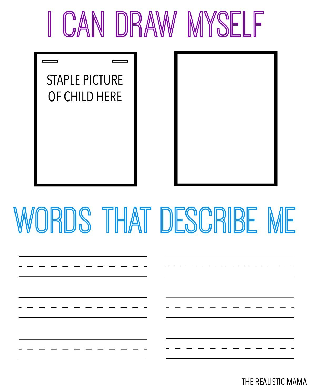 Draw & Describe Yourself Free Printable For Kids | All Things | Self Esteem Worksheets For Kids Free Printable