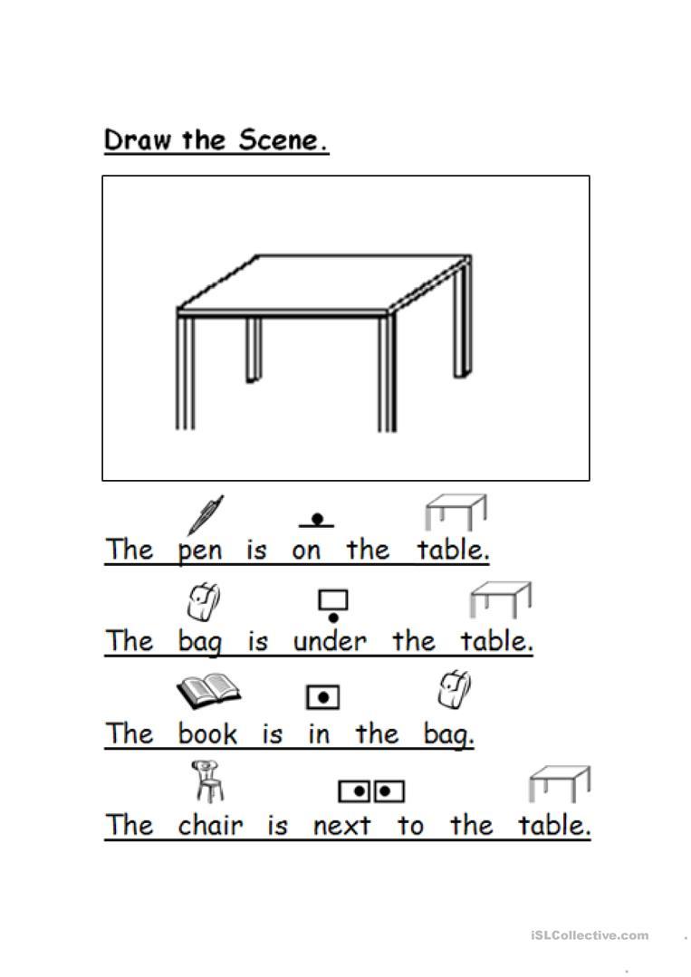 Draw The Scene Prepositions Worksheet - Free Esl Printable   Printable Preposition Worksheets