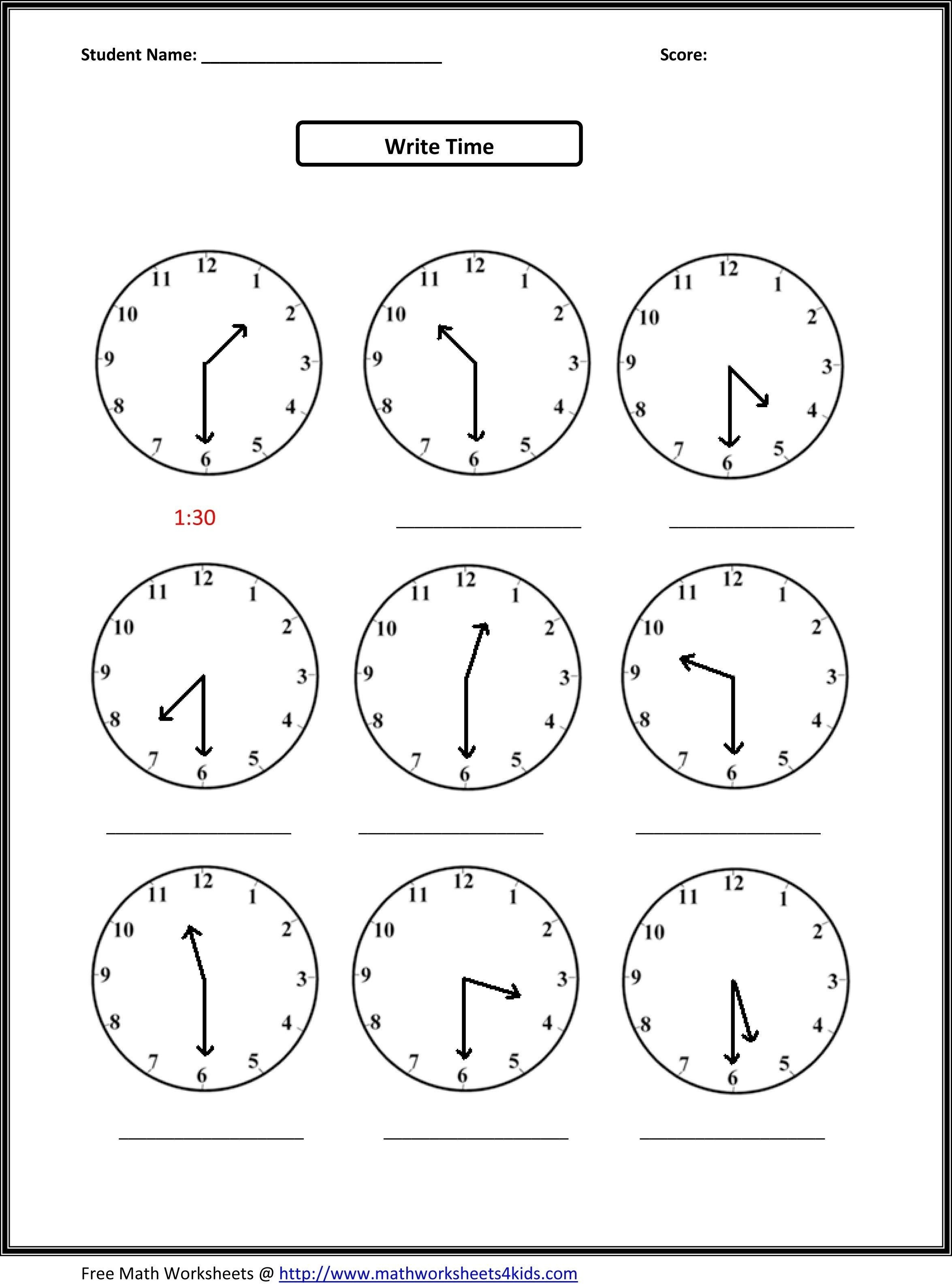 √ Telling Time Printable Worksheets First Grade Inspirationa - Free | Free Printable Math Worksheets For 1St Grade