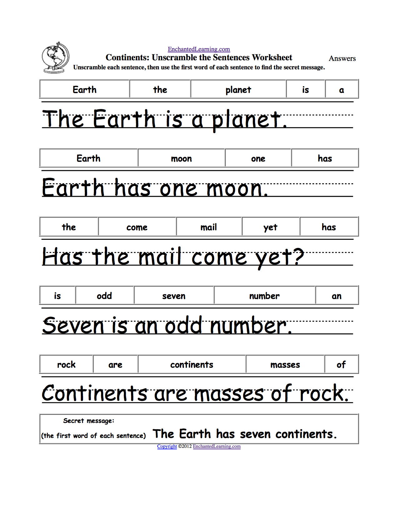 Earth Day Crafts Enchantedlearning. | Grade 1 - Free Printable | Free Printable Scrambled Sentences Worksheets