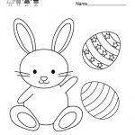 Easter Bunny Coloring Worksheet   Free Kindergarten Holiday | Free Printable Easter Worksheets For Preschoolers