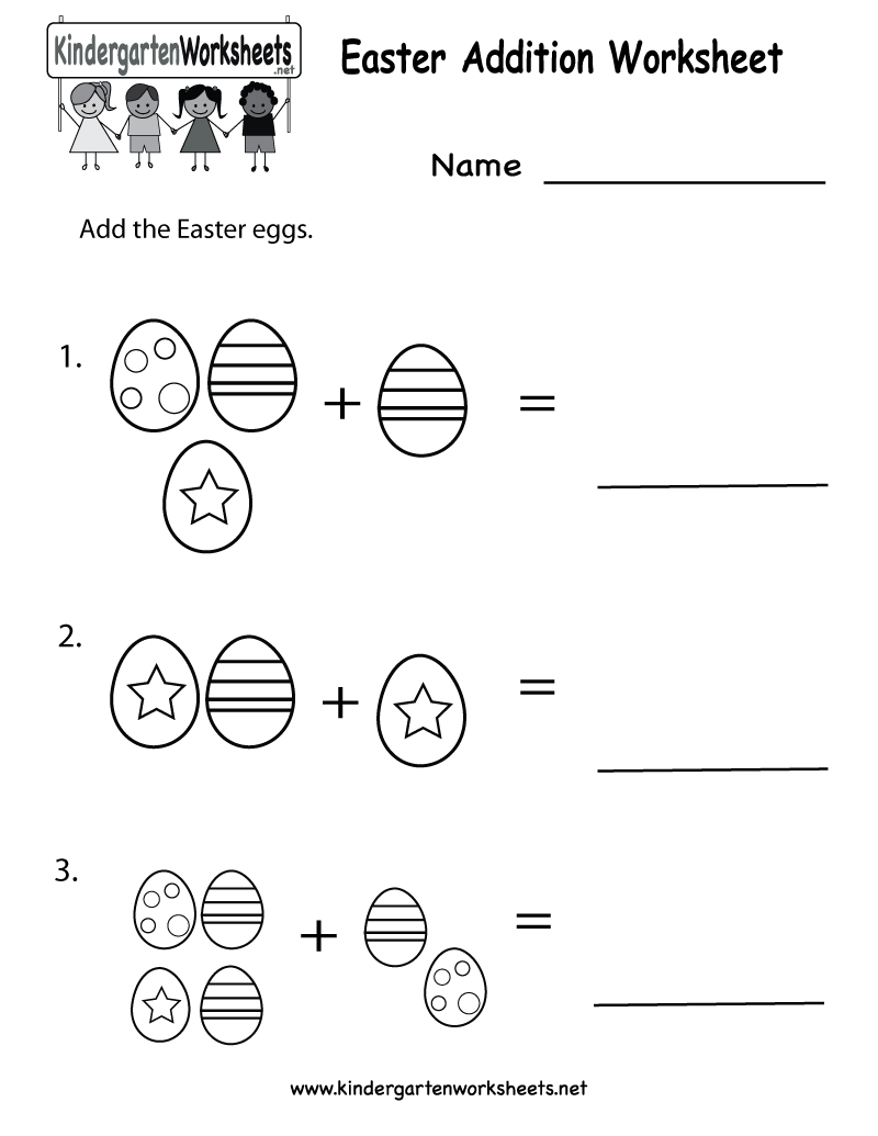 Easter Printables | Kindergarten Easter Addition Worksheet Printable | Free Printable Easter Worksheets For Preschoolers