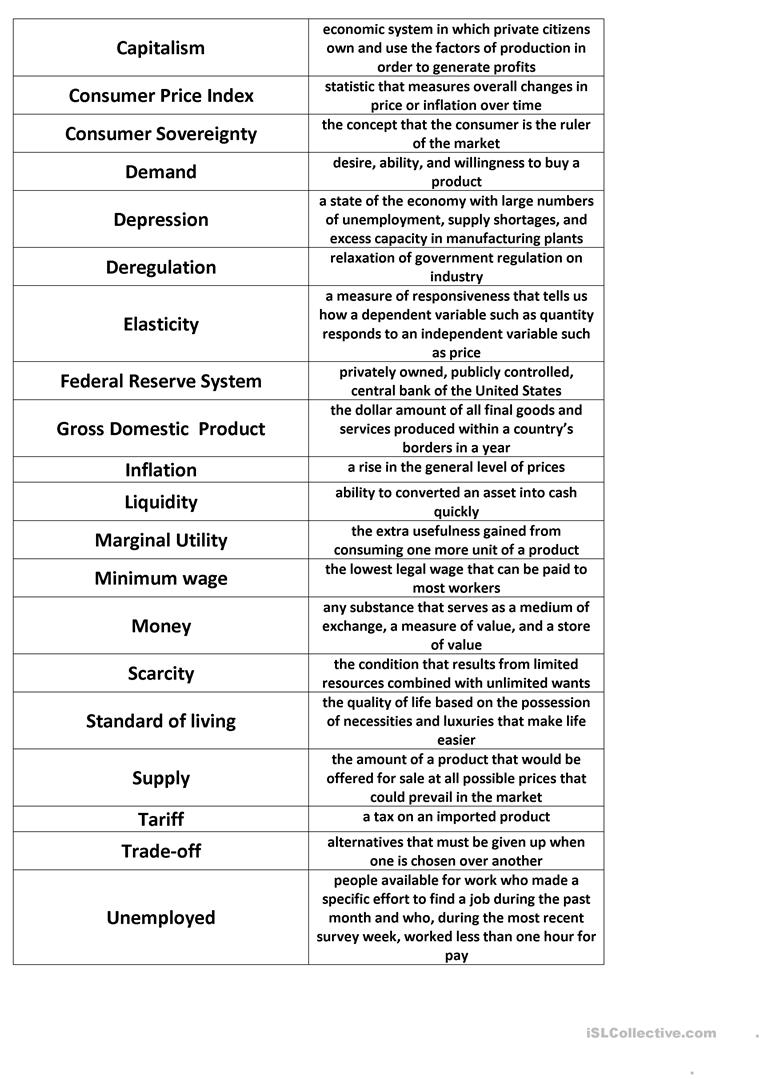 Economics Match Worksheet - Free Esl Printable Worksheets Made | Free Printable Economics Worksheets