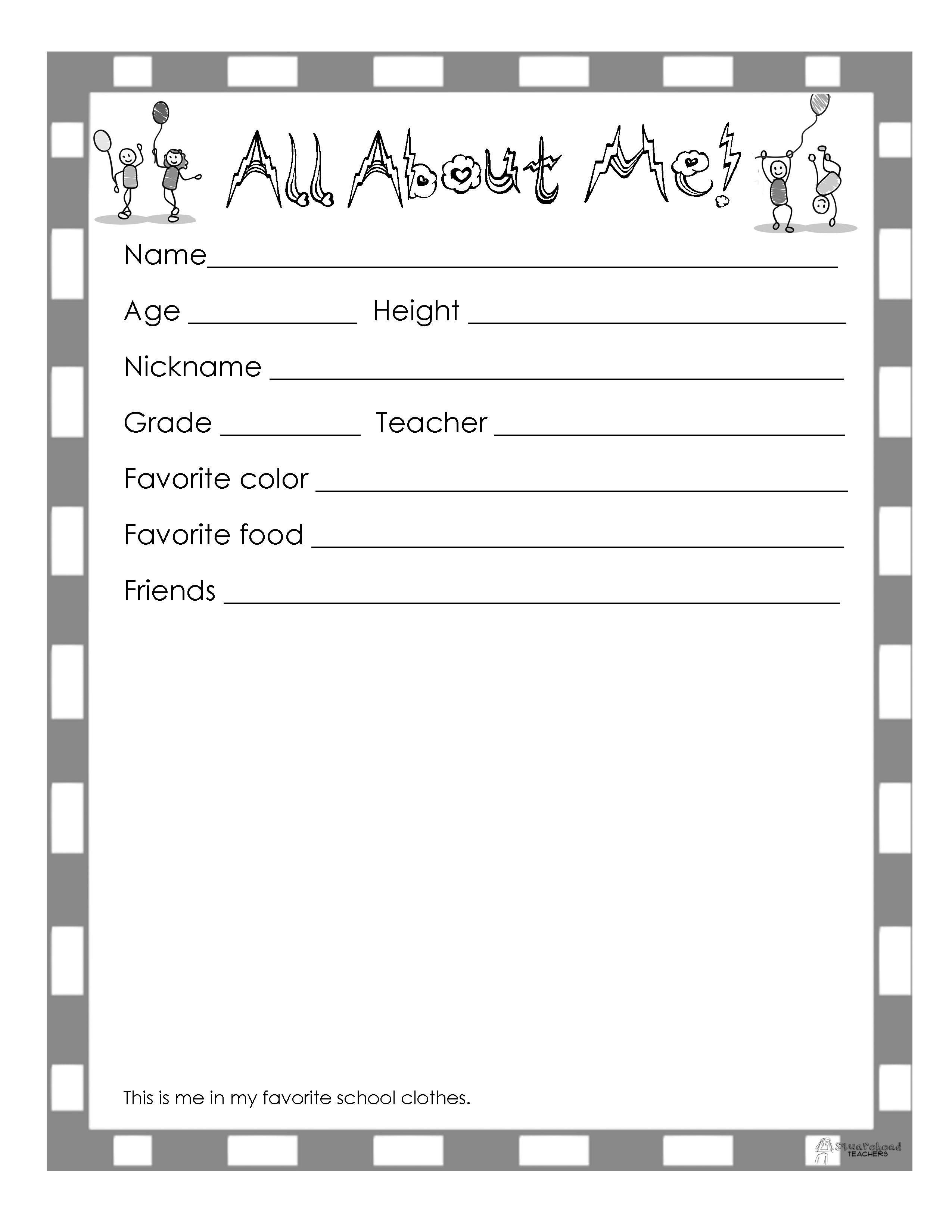 End Of The Year Book (10 Page Printable) | Squarehead Teachers | Yearbook Printable Worksheets