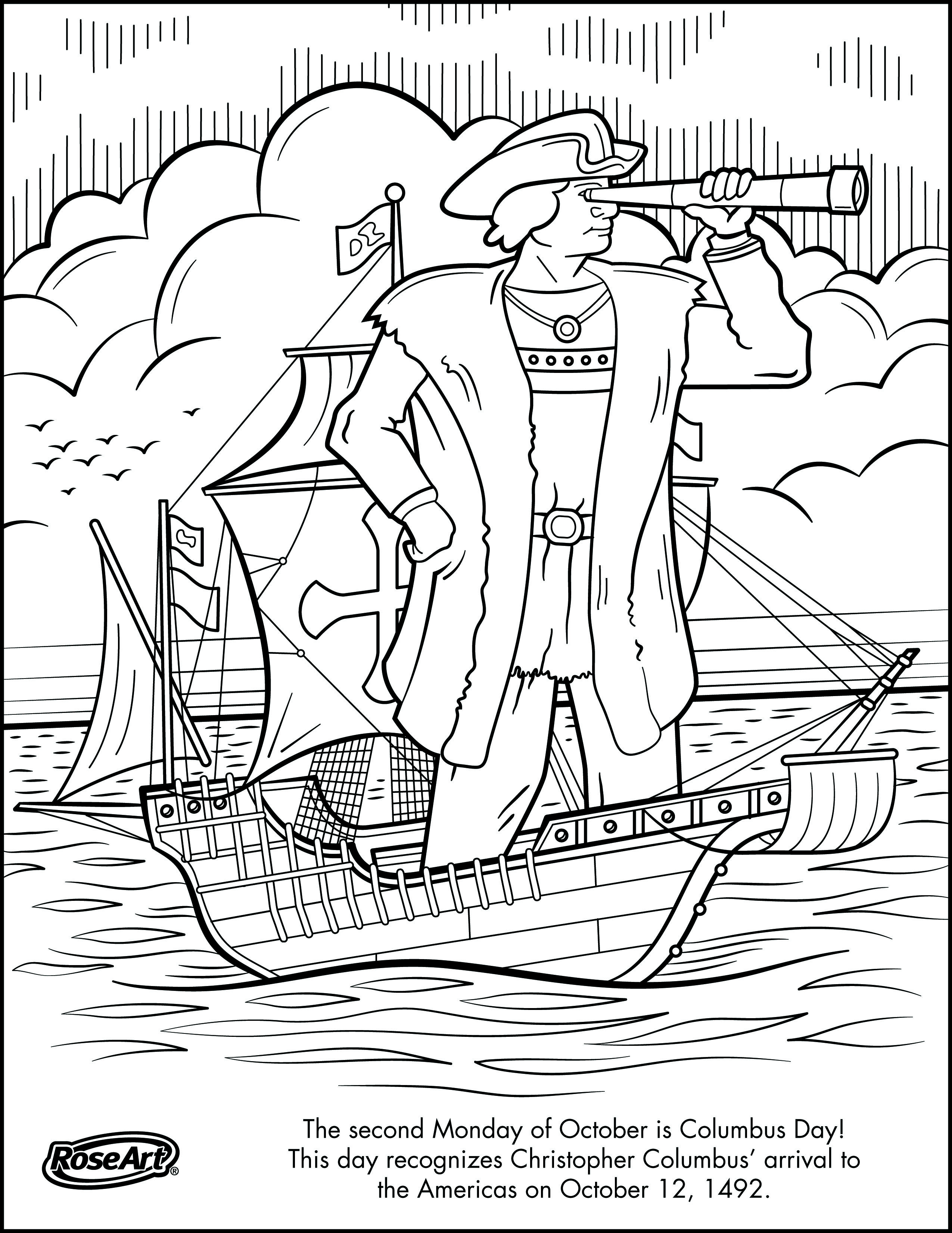 Engage Younger Kids With Columbus Day With Printable Coloring Pages | Christopher Columbus Printable Worksheets