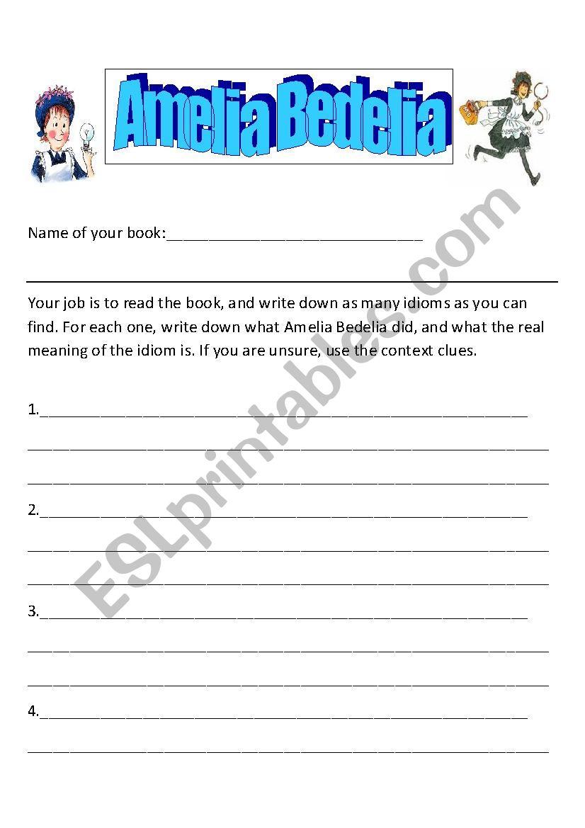 English Worksheets: Amelia Bedelia (Idioms) | Amelia Bedelia Printable Worksheets