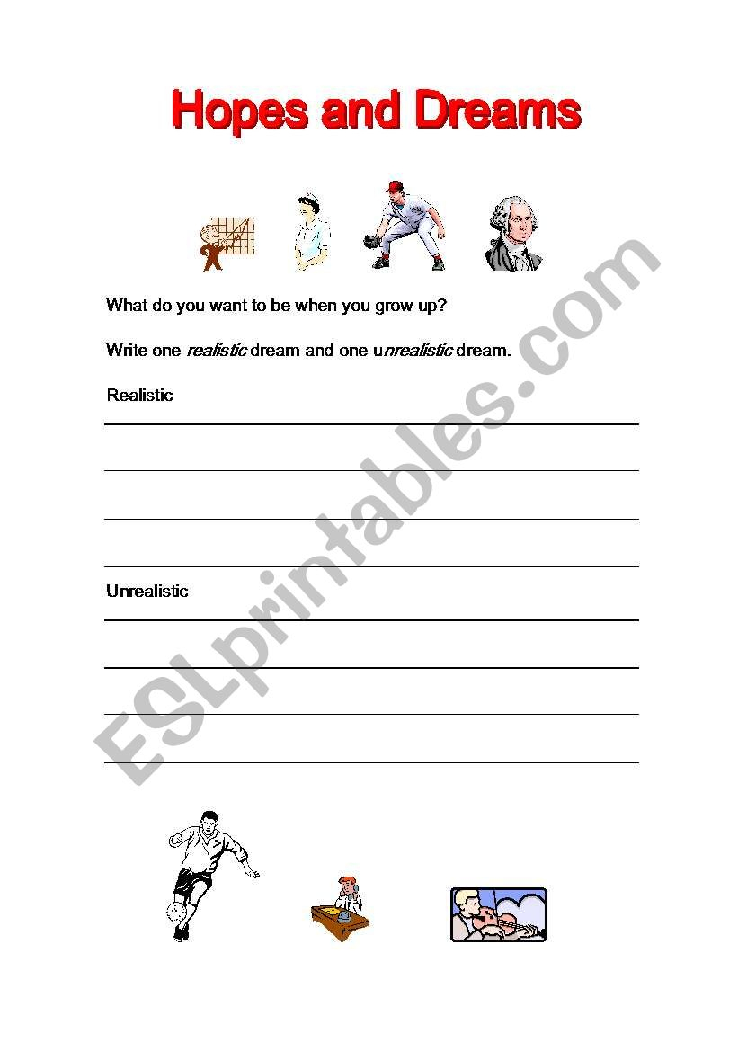 English Worksheets: Hopes And Dreams | Hopes And Dreams Printable Worksheet