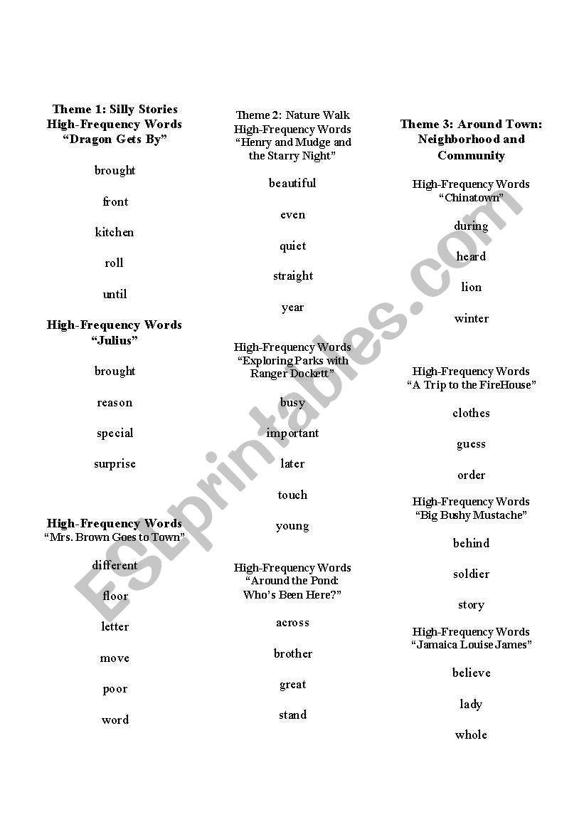 English Worksheets: Houghton Mifflin High Frequency Words   Houghton Mifflin Printable Worksheets