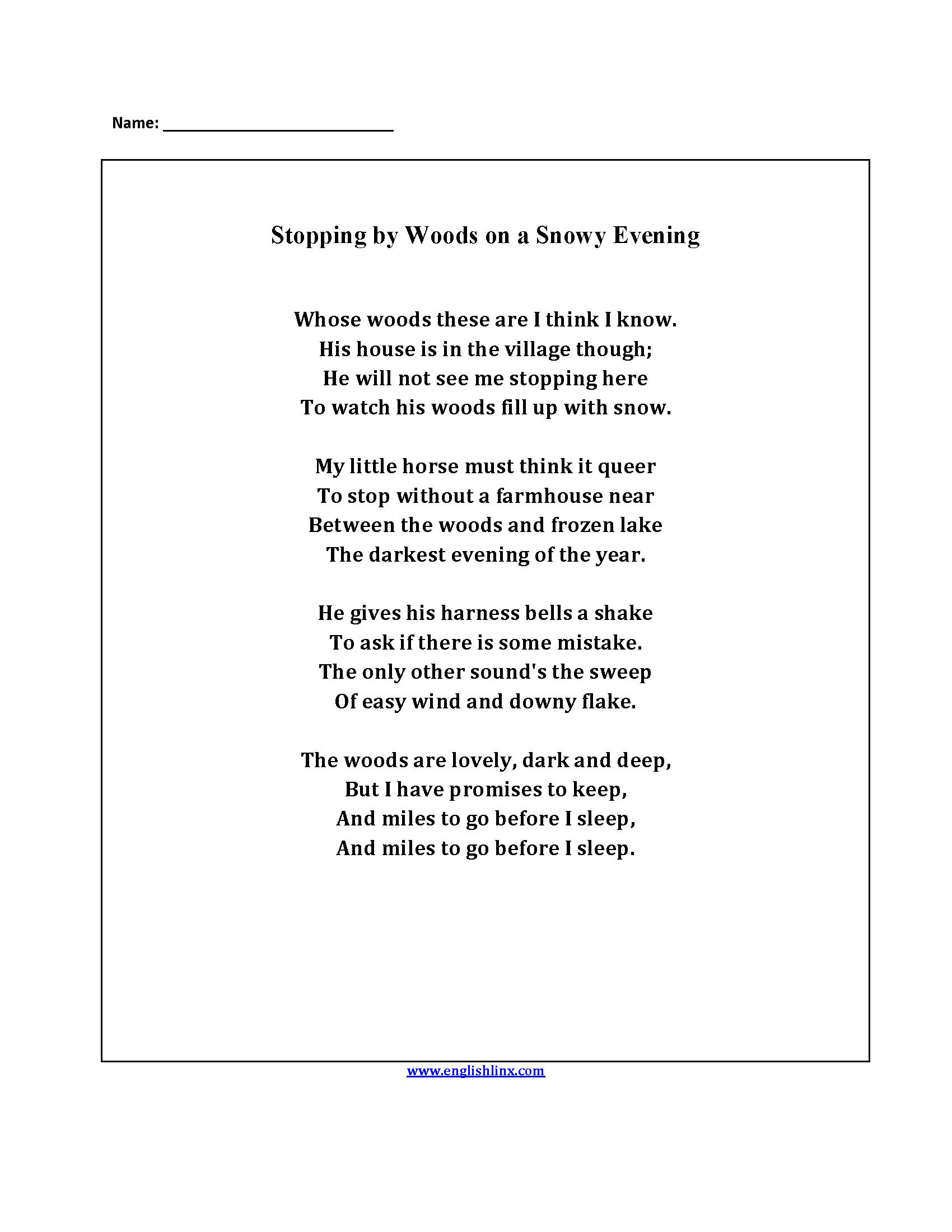 Englishlinx | Poetry Worksheets | Poetry Worksheets Printable