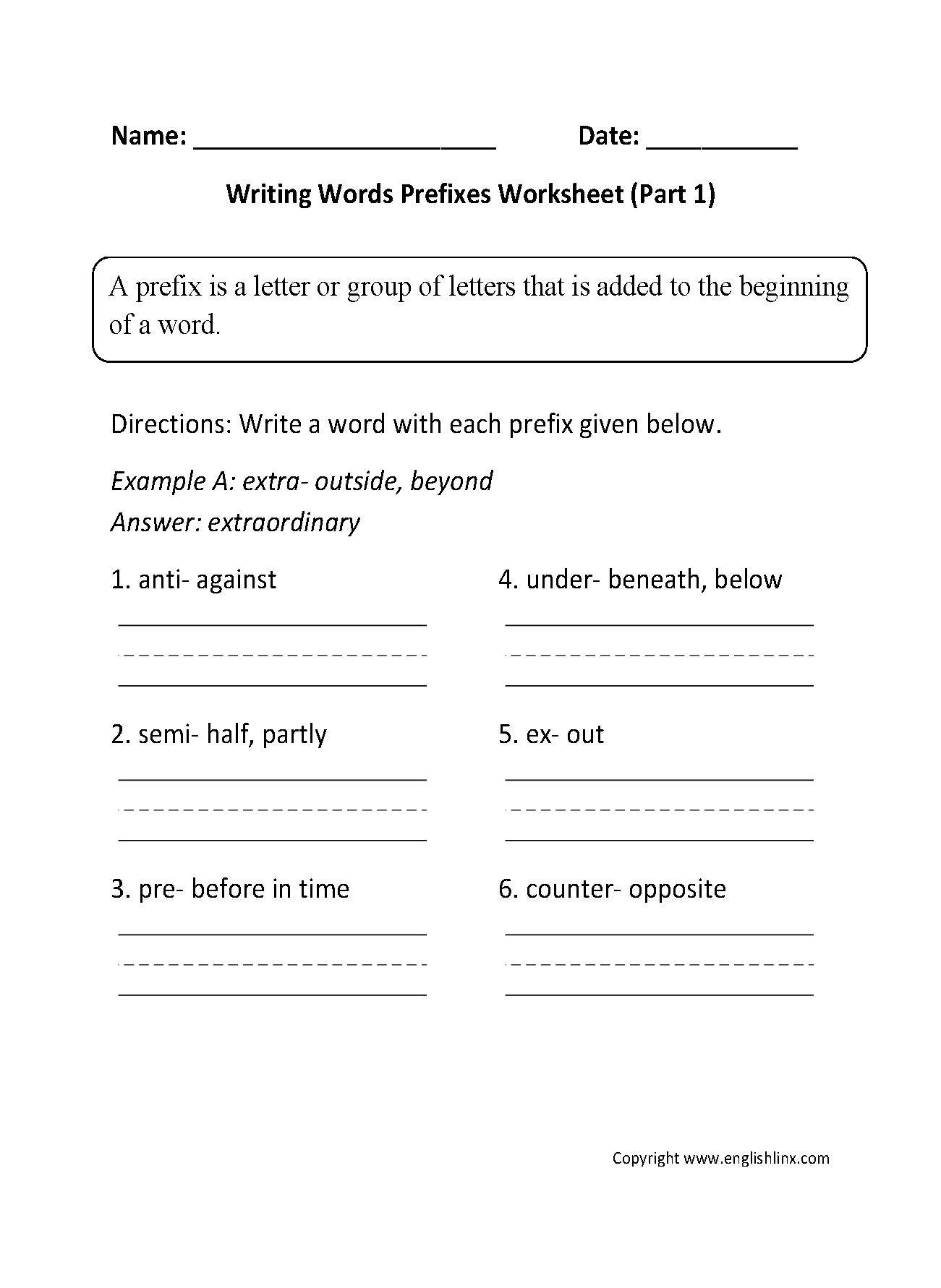 Englishlinx   Prefixes Worksheets   10Th Grade Language Arts Printable Worksheets