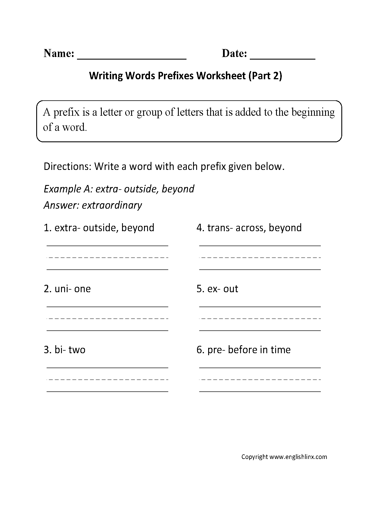 Englishlinx | Prefixes Worksheets | Printable Worksheets For 6Th Grade Language Arts