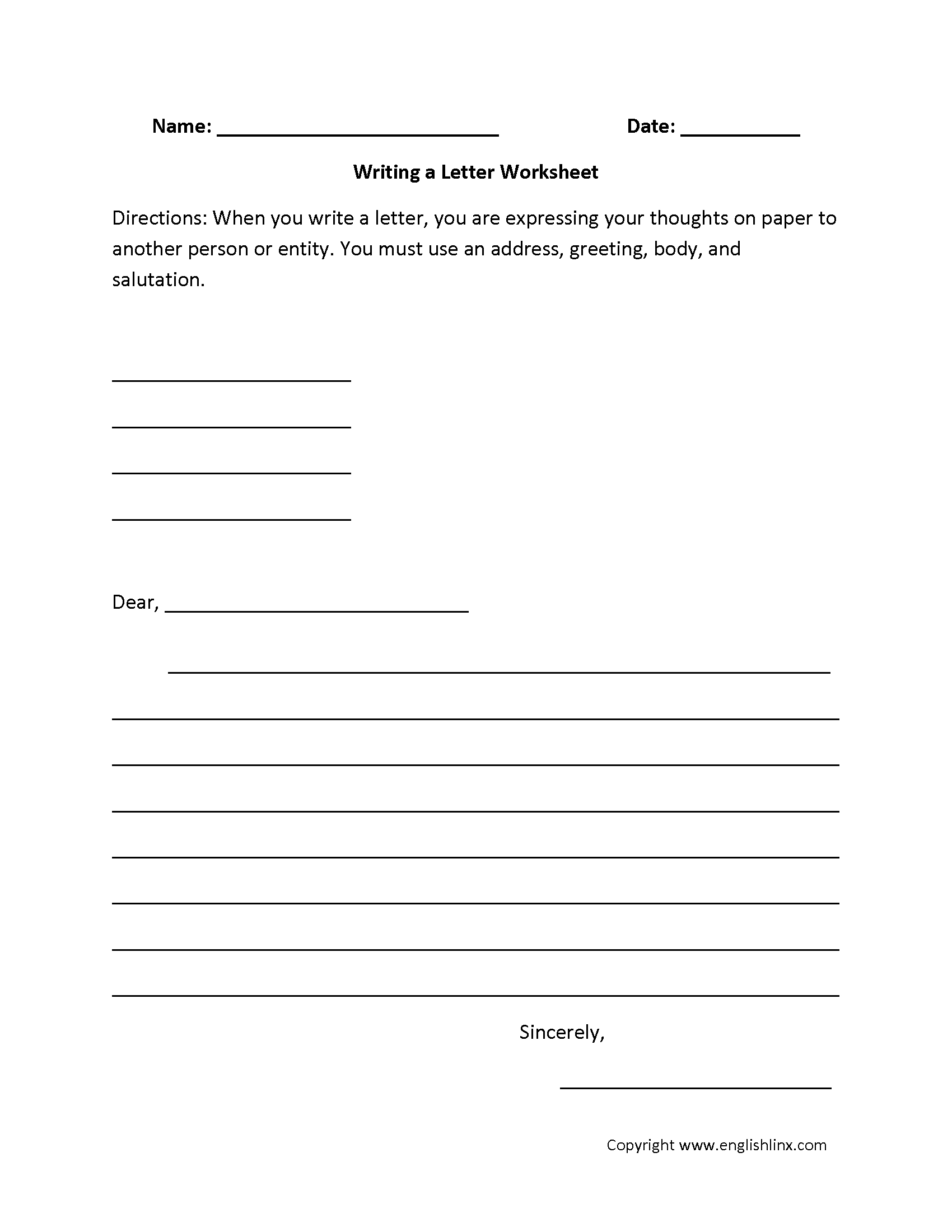 Englishlinx | Writing Worksheets | Free Printable Second Grade Writing Worksheets