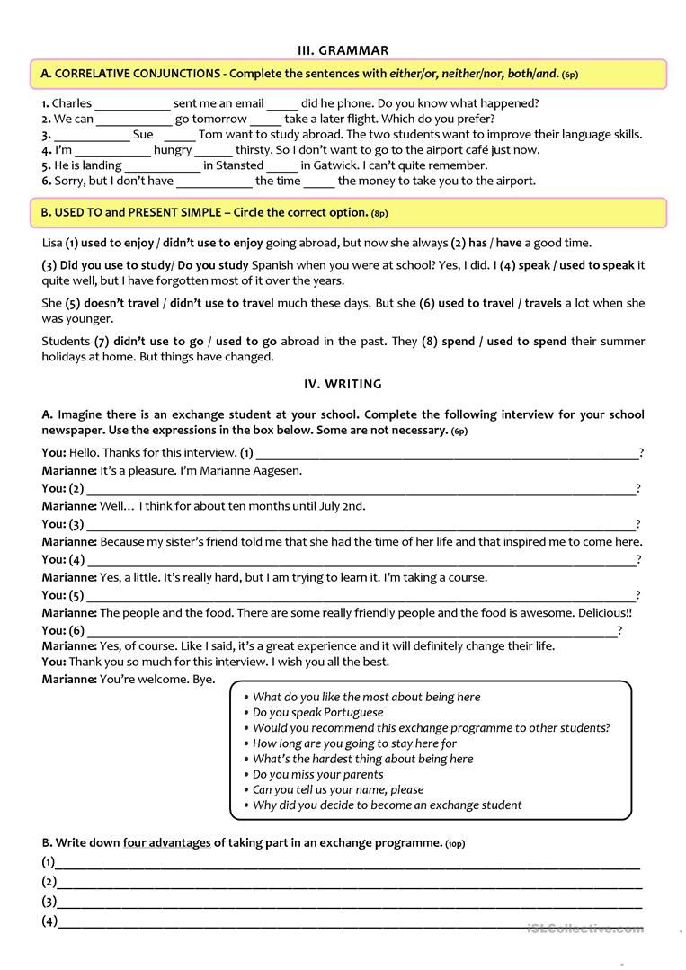Exchange Programmes - Test A2/b1 (9Th Grade) Version B Worksheet | Free Printable 9Th Grade Grammar Worksheets