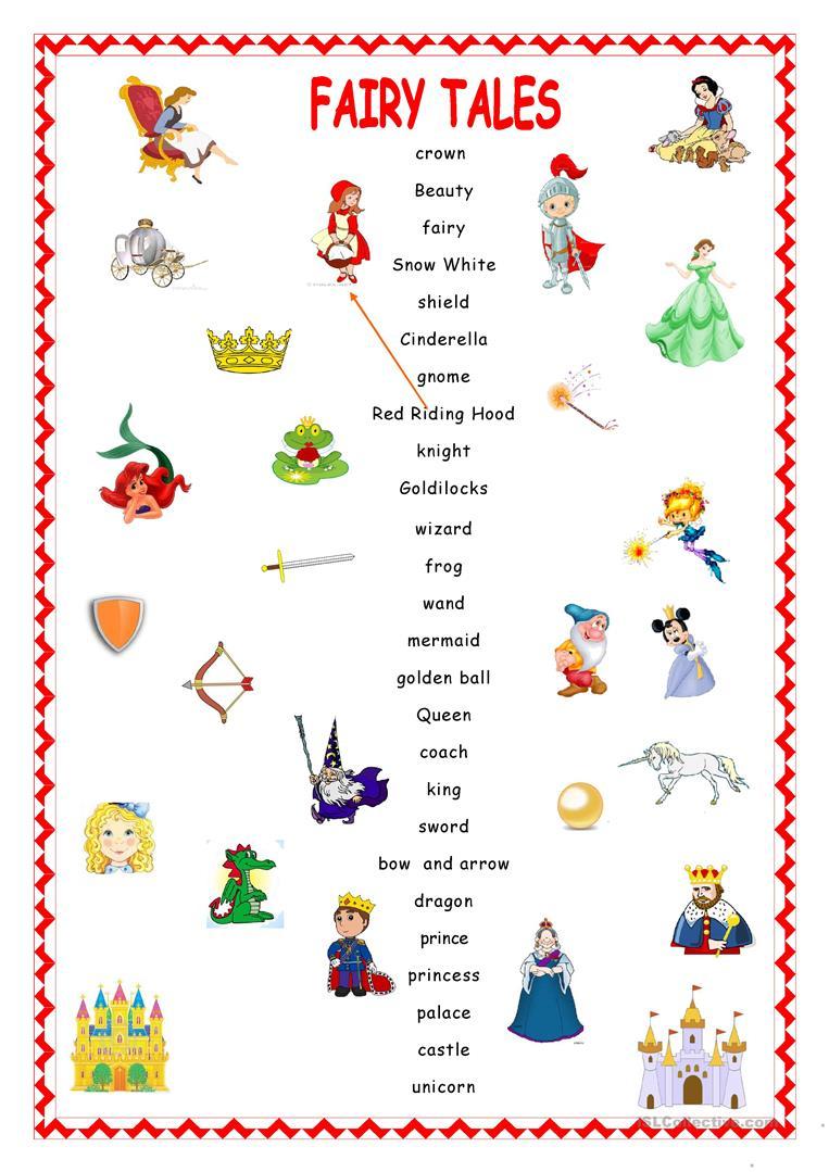 Fairy Tales.matching. Worksheet - Free Esl Printable Worksheets Made | Fairy Tales Printable Worksheets