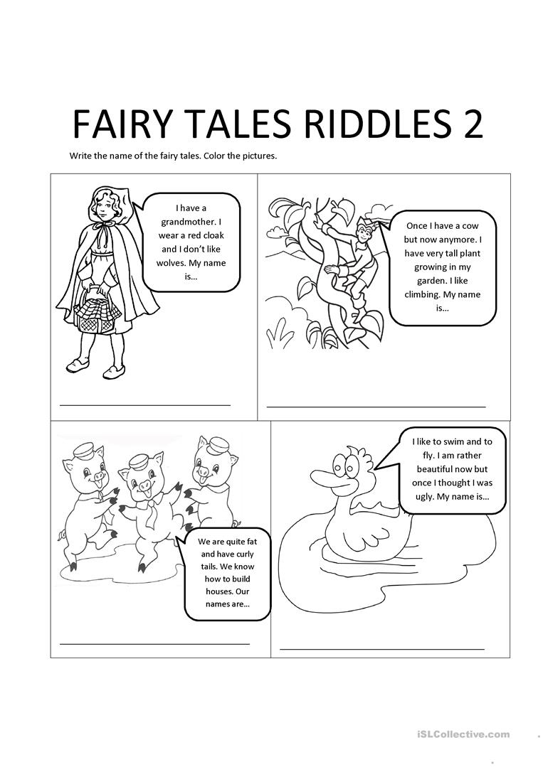 Fairy Tales Riddles 2 Worksheet - Free Esl Printable Worksheets Made | Fairy Tales Printable Worksheets