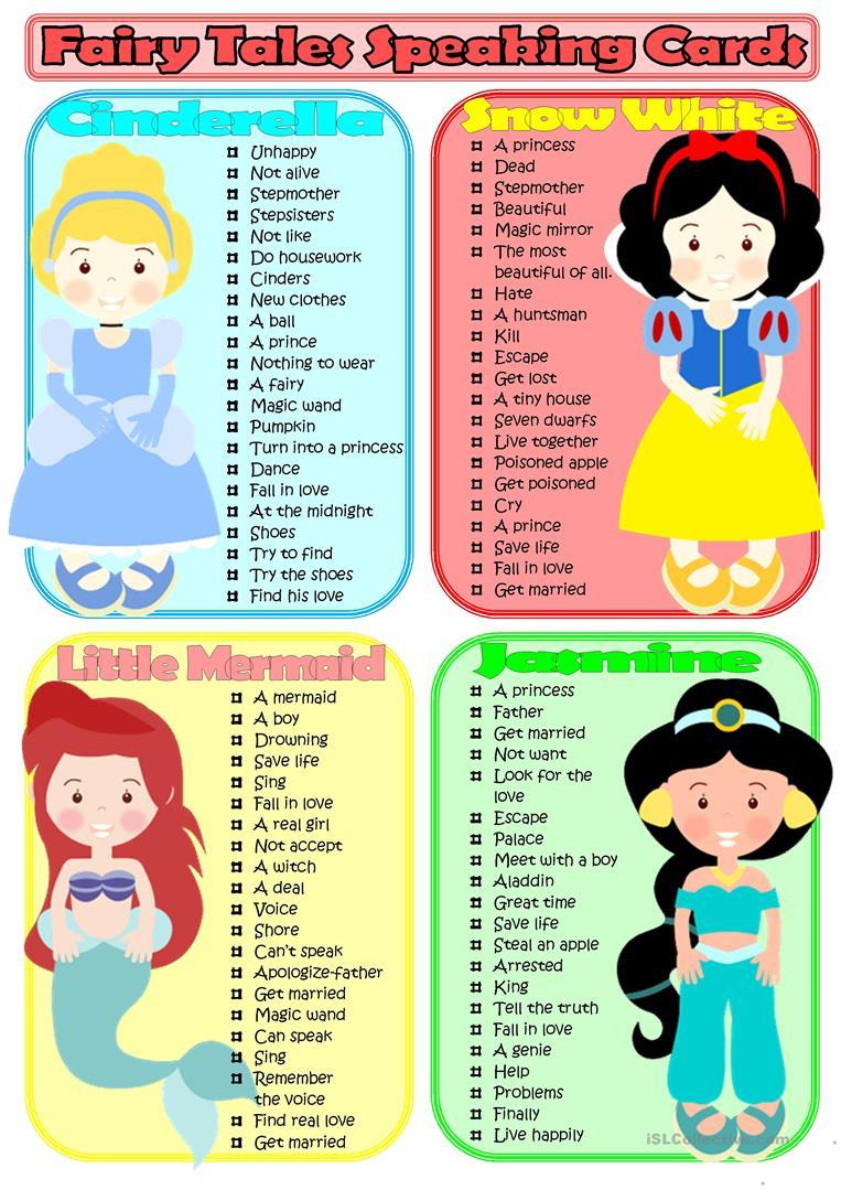 Fairy Tales Speaking Cards Worksheet - Free Esl Printable Worksheets | Fairy Tales Printable Worksheets