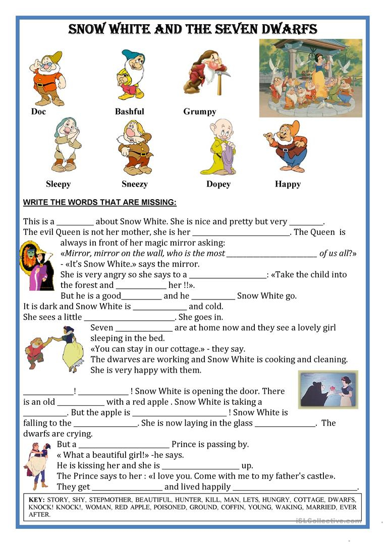 Fairytale Snow White - Short Text; Fill The Gaps Worksheet - Free | Fairy Tale Printable Worksheets