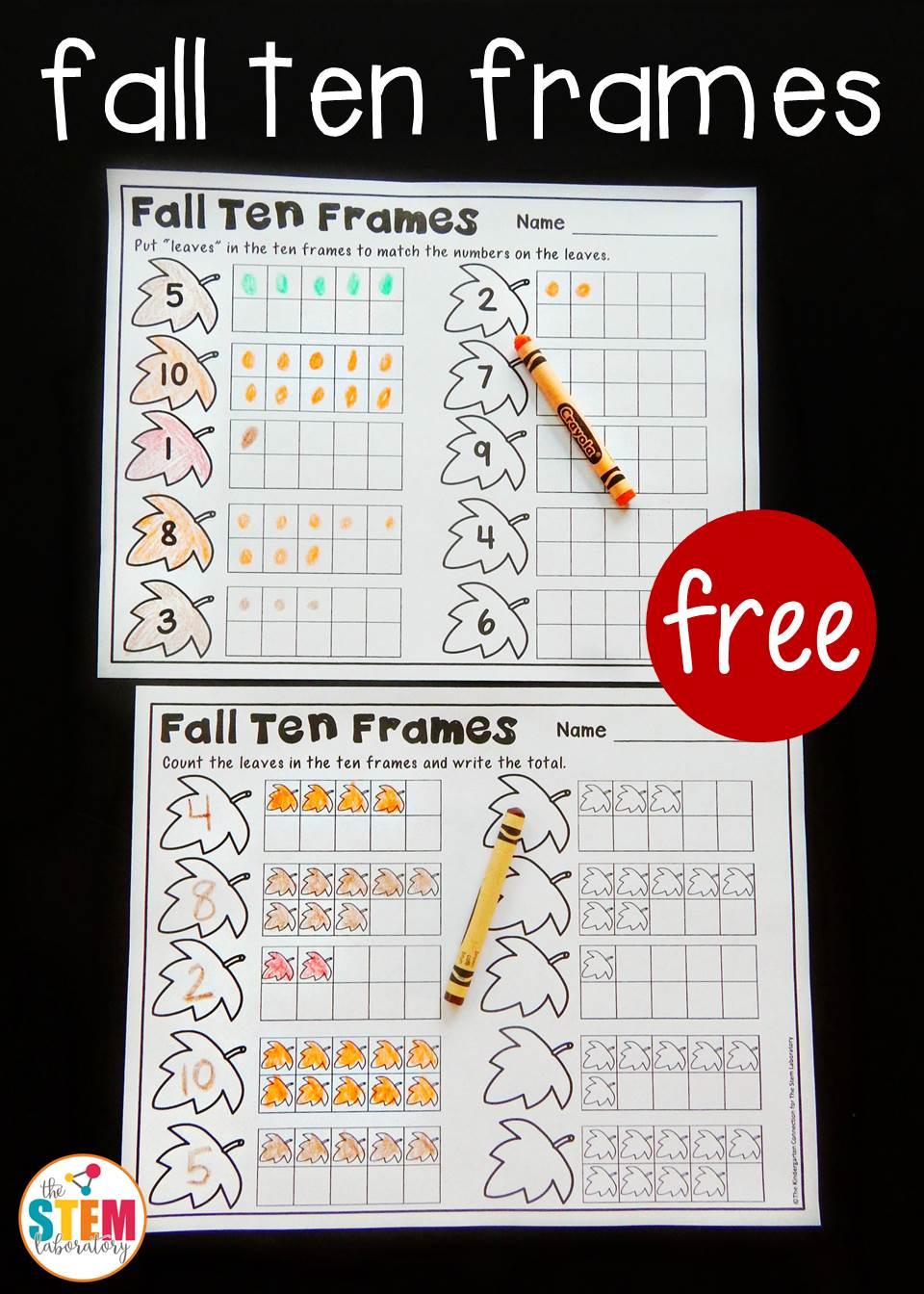 Fall Ten Frame Printables - The Stem Laboratory | Frame Games Printable Worksheets