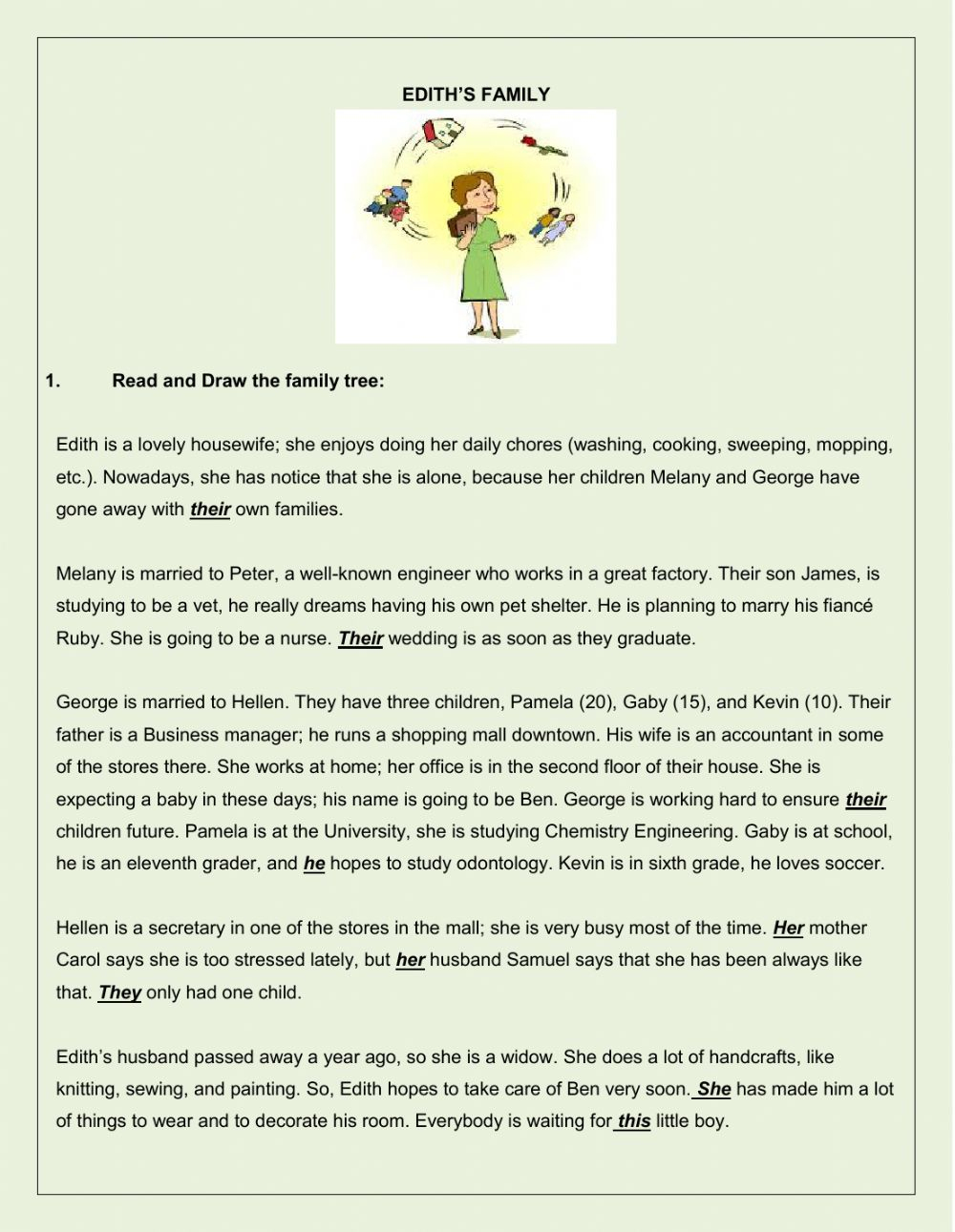 Family Reading Comprehension And Other Activities - Interactive | Hopes And Dreams Printable Worksheet
