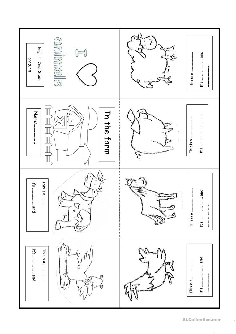 Farm Animal. Minibook Worksheet - Free Esl Printable Worksheets Made | Farm Animals Printable Worksheets