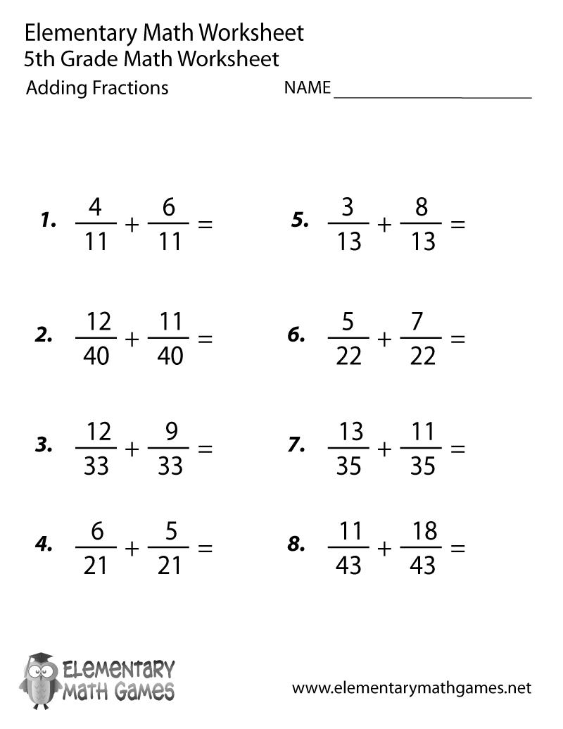 Fifth Grade Adding Fractions Worksheet Printable   Fractions   Printable Math Worksheets 4Th 5Th Grade