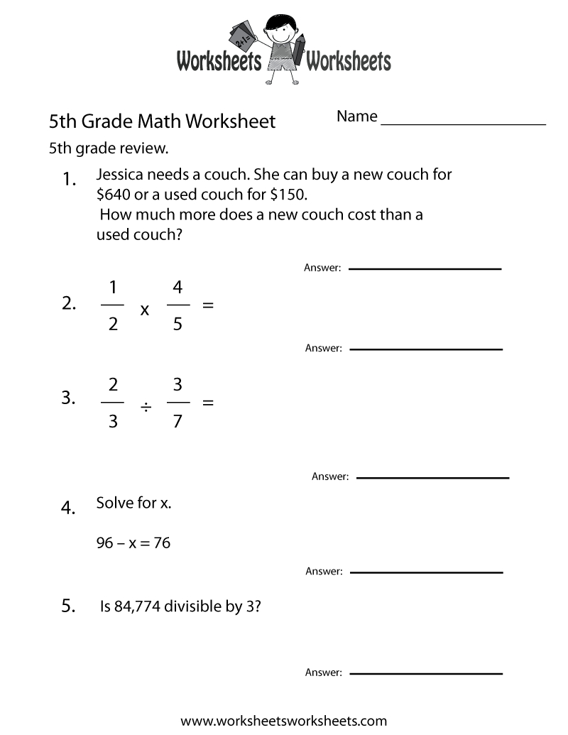 Fifth Grade Math Practice Worksheet Printable | Teaching Ideas | Fifth Grade Printable Worksheets