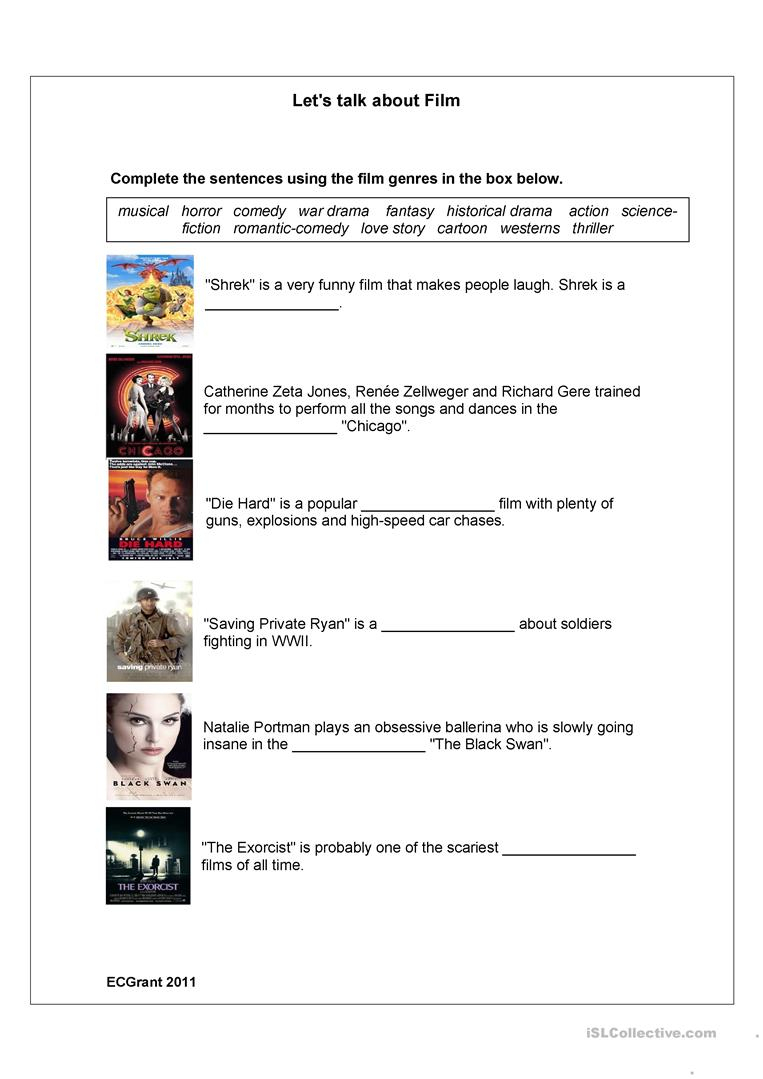 Film Genres Worksheet - Free Esl Printable Worksheets Madeteachers | Wwii Printable Worksheets
