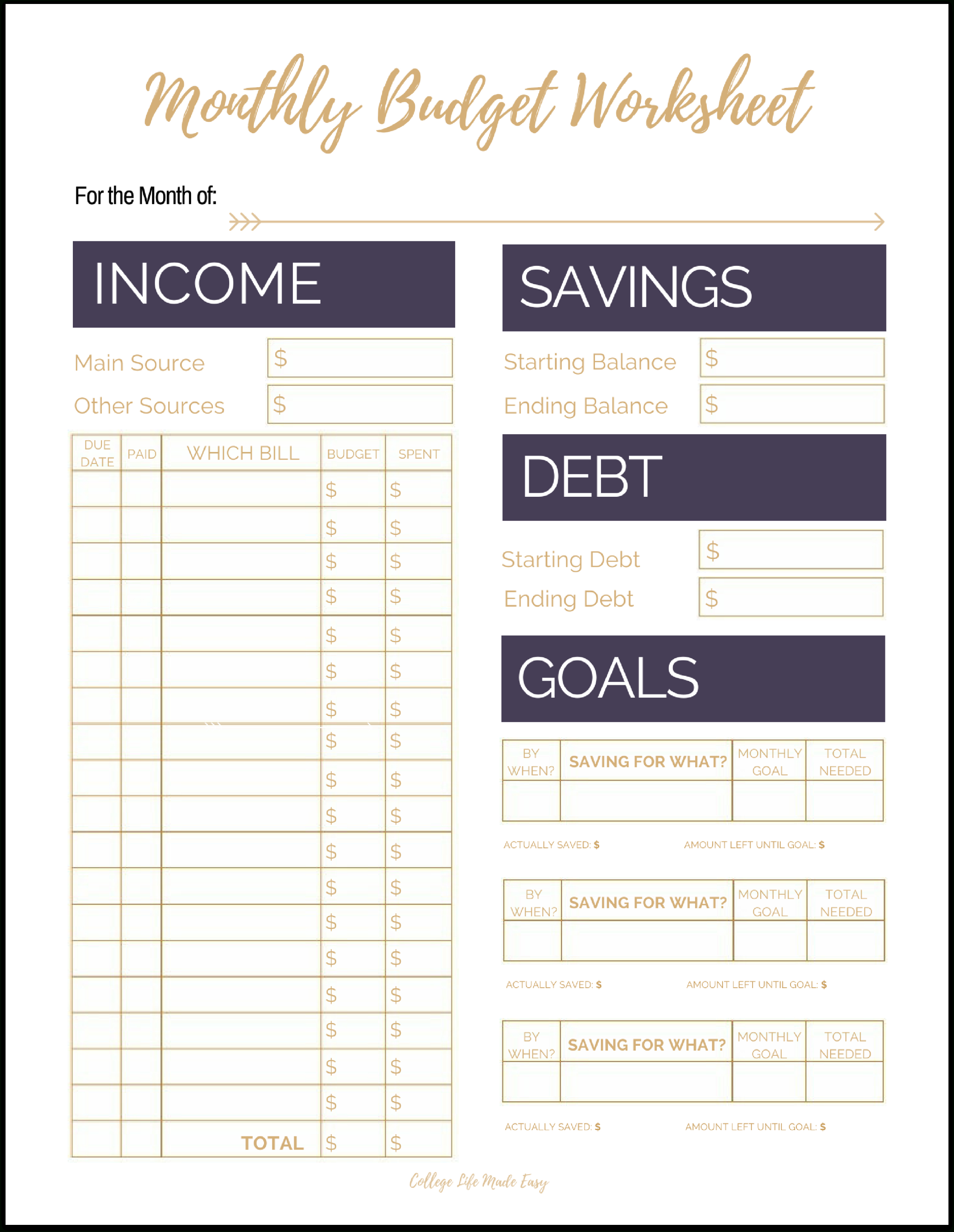 Fix Your Finances Asap With My (Free) Simple Monthly Budget Template | Easy Budget Planner Free Printable Worksheets