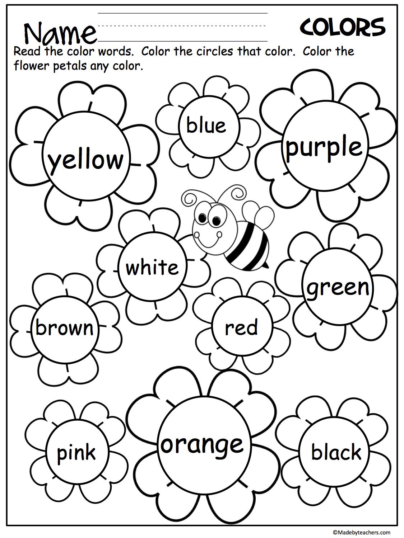 Flower Color Words Worksheet | My Future Classroom | Kindergarten | Free Printable Kindergarten Worksheets Color Words