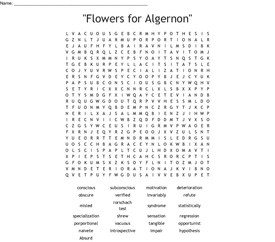 "Flowers For Algernon"" Word Search - Wordmint 