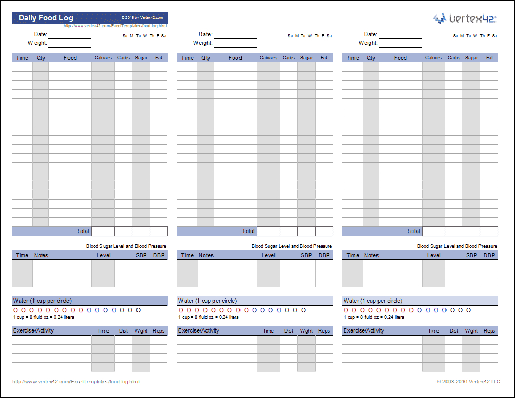 Food Log Template | Printable Daily Food Log | Free Printable Calorie Counter Worksheet