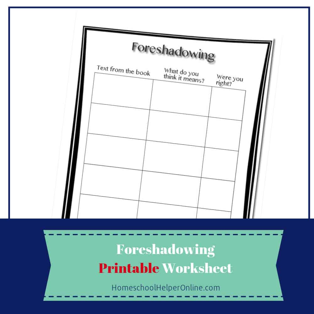 Foreshadowing Worksheet - Homeschool Helper Online | Foreshadowing Worksheets Printable