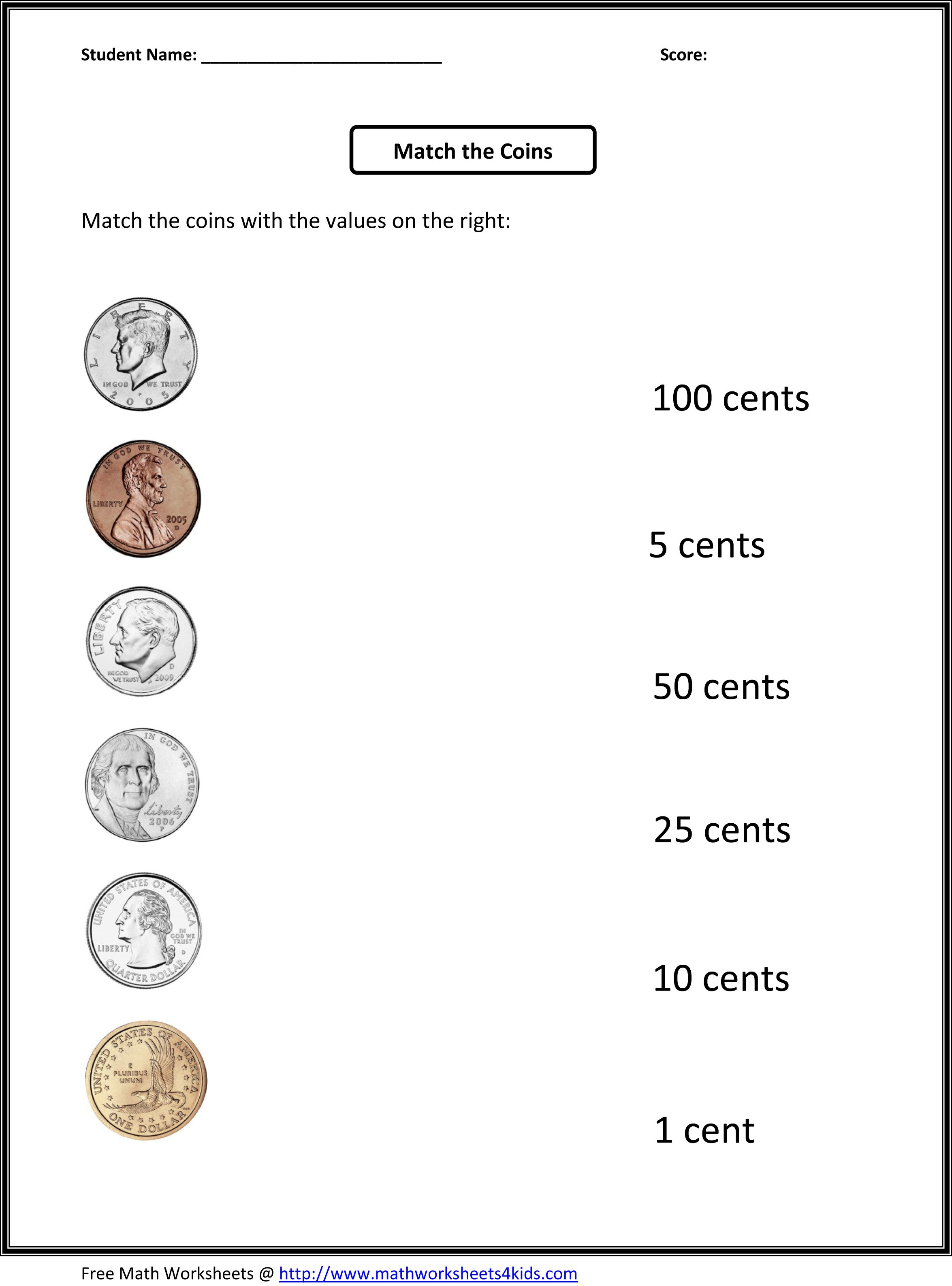 Free 1St Grade Worksheets | Match The Coins And Its Values - Free | Free Printable Money Worksheets For Kindergarten